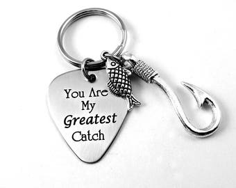 You Are My Greatest Catch - Engraved Keychain Keyring  -  Dad Grandpa Husband BFF Fiance Groom-  Valentine Father's Day - Fishing