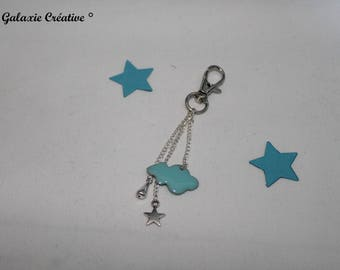 Cloud and Blue Star Keyring