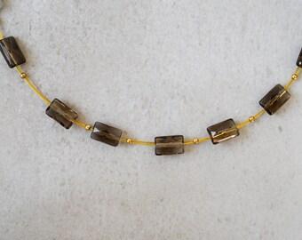 necklace with smoke quartz