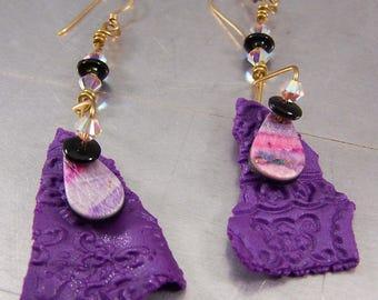 Purple Polymer Clay Shard Earrings