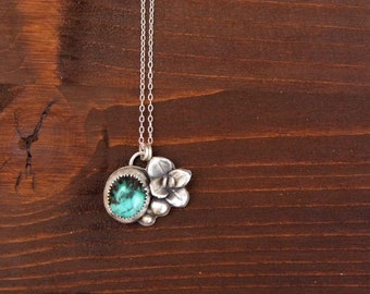 Spring Bloom Sterling Silver Necklace w/ Hubei Turquoise, Girlfriend Gift, Botanical Necklace, Natural Hubei Turquoise, 925 Silver Succulent