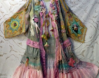 Exciting Bohemian woman's jacket handcrafted wearable art casual leisure hippie style fun expressive pretty one of a kind colorful vintage