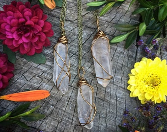 Quartz necklace, pendant, wire wrapped, healing stone, bronze, crystal, pendulum, point, raw, rough, crystal, stone, boho