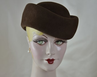 Brown Felt Hat, Ladies Toque Hat, Fall Hat