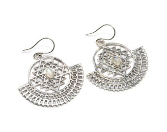 White Brass Sri Yantra Dangle and Drop with Moonstone Gemstone Tribal Earrings Ethnic Inspired Jewellery Free UK Delivery Gift Boxed WB67