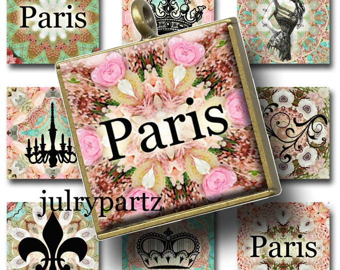 SPRINGTIME in PARIS decor 1x1 images, Printable Digital Images, Cards, Gift Tags, Scrabble Tiles, Magnets, collage sheets