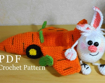 Crochet Pattern Easter Bunny Carrot Airplane,  Amigurumi Bunny, Toy crochet pattern PDF Mother day