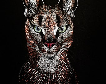 Fine Art Print of Pointillism Illustration: Caracal by Christie A. Thompson