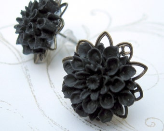 Black Chrysanthemum Flower Earrings Shabby Chic Cottage Style Mothers Day Outdoor Wedding Garden, Gift for Her Jewelry