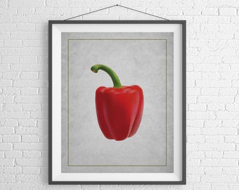 Red Pepper Print, Kitchen Art, Kitchen Prints, Food Print, Chef Gift, Foodie Gift, Food Gift, Vegetable Art, Vegetable Print, Veggie Art