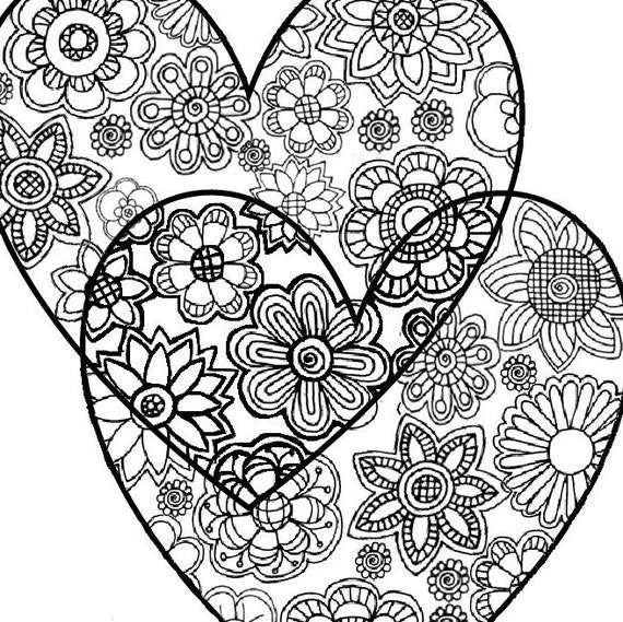 Two coloring pages in one ~ Two Hearts Love. Adult Coloring Page: Instant Digital