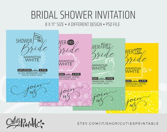 Bridal Shower Invitation • Template • Invitation Printable • DIY Wedding Shower Template • PSD Instant Download