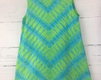 Girl's Size 10 Blue & Green Wave Tie Dye Sleeveless Tank Play Dress