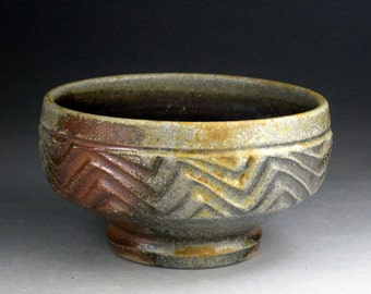Sculpted Woodfired Stoneware Bowl with Clay & Ash Glazed Interior