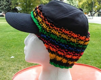Ear Warmer for Baseball Cap in Rainbow Stripes, Primary Colors, Unisex Hat Cozy