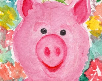 Original Pig ACEO Watercolor Painting, animal and flowers art