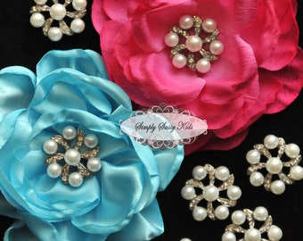 5 pcs RD75 Clear Crystal Pearl Rhinestone Metal FlatBack Embellishment Add to flowers favors invitations accessories hairclips wedding
