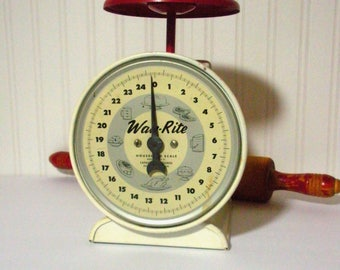 Vintage Farmhouse Rustic Red Kitchen Scale, Primitive Shabby, WayRite Household Scale