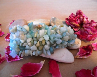 Stone Chip Bracelet | Amazonite Bracelet | Stone Bracelet | Woven Bracelet | Stretch Bracelet | Gemstone Bracelet | Boho | Bohemian | Mint