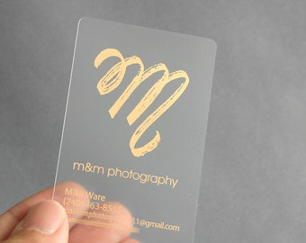 200 Business Cards - Frosted plastic stock - with gold or silver metallic foil - free rounded corners