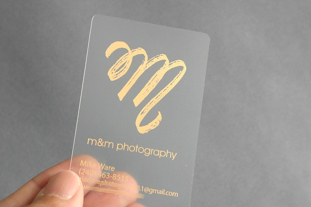 200 Business Cards Frosted plastic stock with gold or