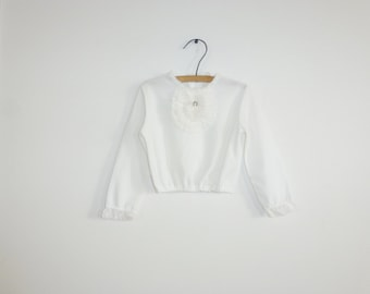 Vintage White Girl's Crop Top
