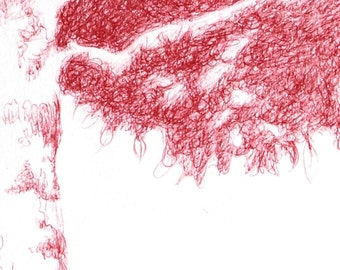 original red tree ball point pen drawing A4 paper is handmade