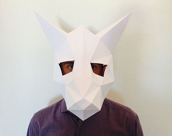 Make Your FOX Mask from paper, PDF pattern mask, Polygon Face DIY Paper Mask, Papercraft, Party Animal
