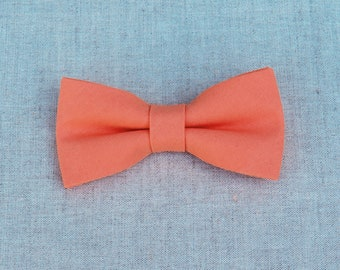Mens Bow Tie, Coral Bow tie, Plain BowTie, Solid Coral Bow tie, Bow Tie for Wedding, Groom Groomsmen Bow Tie, Kid Bow Tie, Baby Boy Bow Tie
