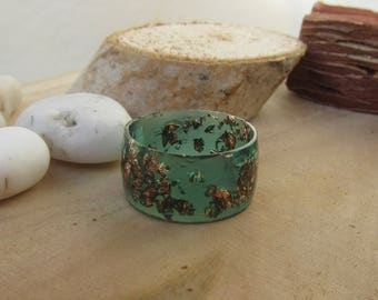wide ring, extra flat ring, resin wide ring, resin jewelry, green wide ring, wide band, resin ring, copper wide ring, silver wide ring, gold