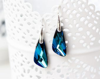 Swarovski earrings Blue crystal earrings Silver earrings Swarovski crystal earrings Sterling silver earrings Deep blue earrings 768
