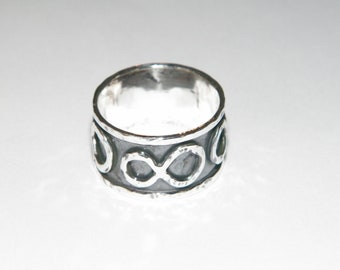 Handcrafted 925 Oxidized Sterling Silver Ring With Symbol of Infinity Handmade -Custom Size