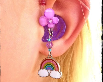 Hearing Aid Charms:  Rainbows (also available in matching Mother Daughter Set)! ***Tube Trinkets sold separately***