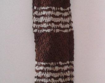 Vintage 1930's Brown Tan Striped Silky Rayon Knit Tie Square End Dapper