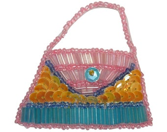 ID 8863 Sequin Purse Handbag Patch Woman Bag Fashion Beaded Iron On Applique