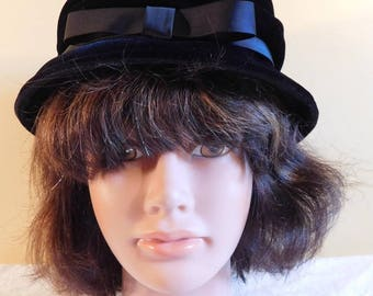 Vintage Black Velvet Bucket Hat Black Ribbon Bow
