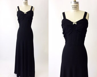 1930s Black Crepe Evening gown