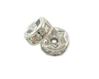 8mm Silver Rhinestone Spacer Beads, 8 spacers