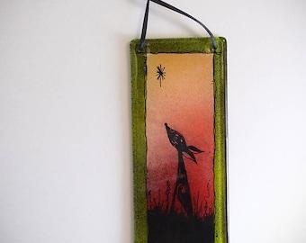 Dog Fused Glass Painting Mini Wall Hanging Decor Suncatcher Handmade Original Art
