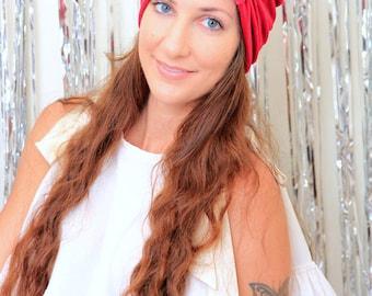 Velvet Turban Hat - Women's Fashion Hair Wrap in Red - Mademoiselle Mermaid's Bohemian Style Hair Accessories by