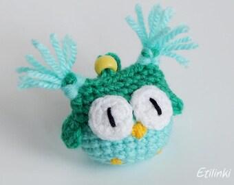 Green mint owl Crochet keychain Owl accessories Amigurumi keyring Kids gift Children gifts Tiny owl charm Owl Pendant Eule Schlüsselanhänger