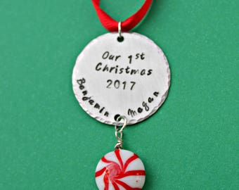 Our First Christmas Ornament, Wedding Ornament, 1st Christmas, Mr and Mrs Ornament, Custom Ornament, Just Married Ornament