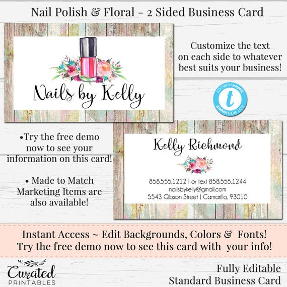 Nail artisbusiness card watercolor card card template diy reheart Image collections