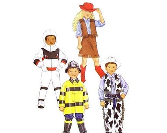 SALE Boys and Girls Cowgirl Cowboy Astronaut Fireman Fire Fighter Costumes Butterick 3244 Sewing Pattern Size 6 - 7 - 8 UNCUT