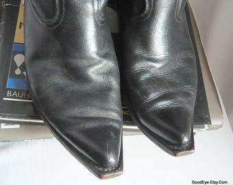 Men's Quirky POINTED TOE Western Boots / size 8 .5 D Eu 42 UK 8/ Black Leather Cowboy Womens sz 10 .5 wide