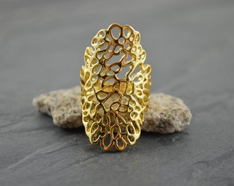 Gold Lace Coral Reef Long Statement Ring - Gold Filigree Nature Ring - Art Nouveau Feminine Scroll Style