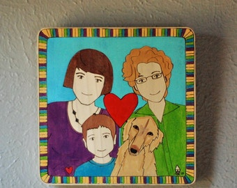 Custom Family Portrait , Two Adults, One Child, One Pet