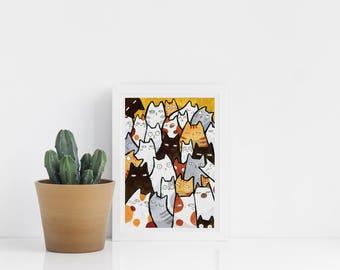 Cats art print A5
