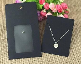 10 wrappers necklaces / bracelets black kraft blank covers