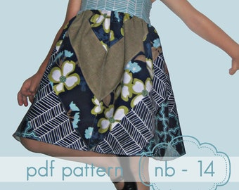 Happy Herringbone Halter Dress - INSTANT download - tunic or knee length - nb-14 and doll, pdf sewing pattern